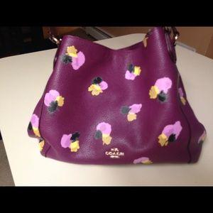 Coach Leather Edie Purple/Field Flora shoulder bag